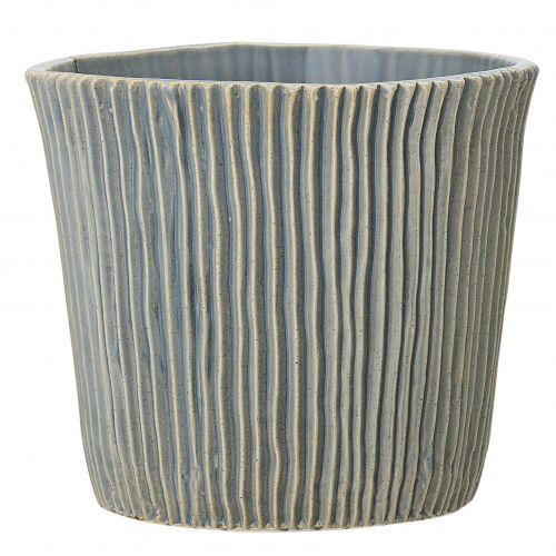 Bloomingville / Keramický obal na kvetináč Blue Grooves ⌀ 18,5 cm