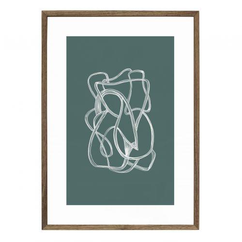 Hübsch / Drevený rám s obrázkom Nature/Green 30x42 cm