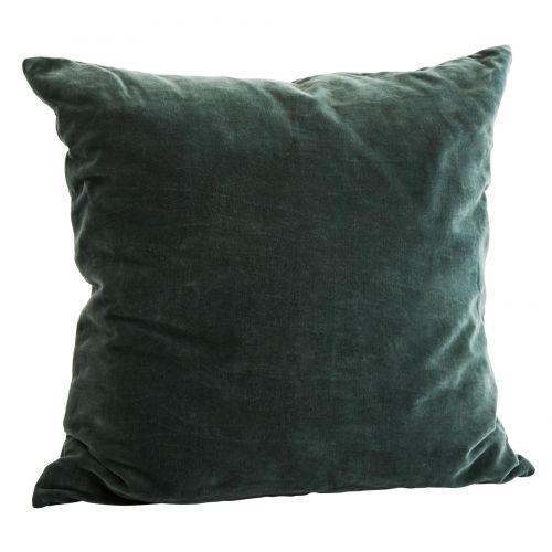 MADAM STOLTZ / Zamatový povlak na vankúš Forest green 50x50 cm