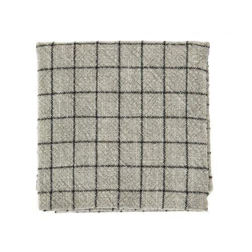 MADAM STOLTZ / Bavlnená utierka Checked Greige 50×70 cm