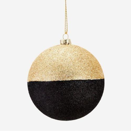 MADAM STOLTZ / Trblietavá vianočná ozdoba Black/Gold