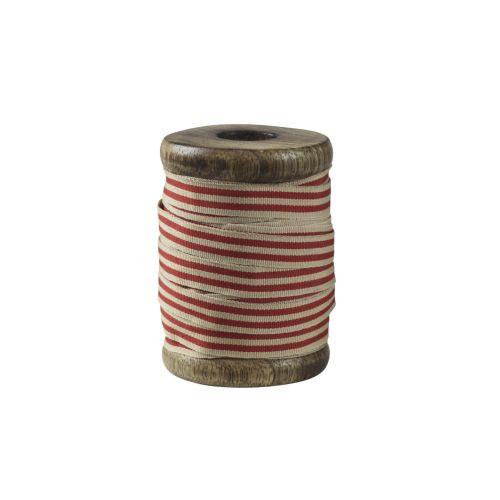 Chic Antique / Bavlnená stuha s cievkou Red Stripes - 5m