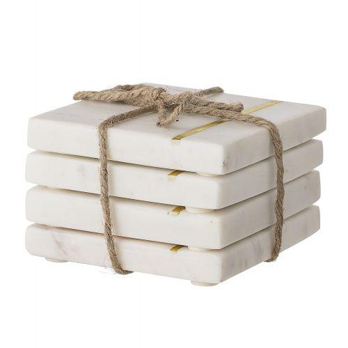 Bloomingville / Mramorové podtácky White Marble - set 4 ks