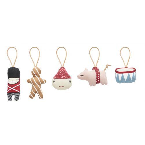 OYOY / Textilné vianočné ozdoby Christmas - set 5 ks