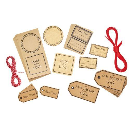 Kitchen Craft / Sada štítkov, nálepiek a stúh na zaváraniny - 120 ks
