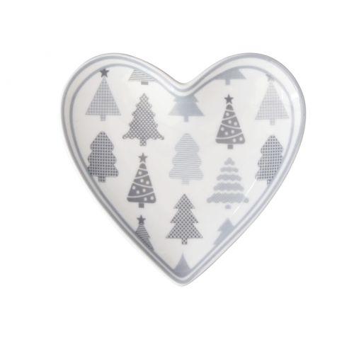 Krasilnikoff / Porcelánová tácka Heart Christmas Trees