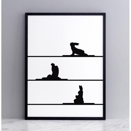 HAM / Sieťotlač s králikmi cvičiacimi jogu Yoga Rabbit 30 x 40 cm
