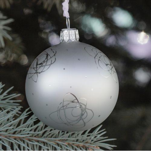 GLASSOR / Sklenená vianočná ozdoba Rose Matt grey - 6 cm