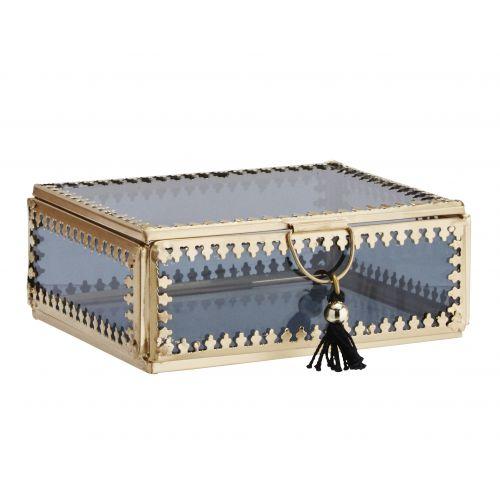 MADAM STOLTZ / Sklenená krabička Orient Gold/black - väčšia