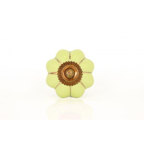 La finesse / Porcelánová úchytka Sarah green/gold