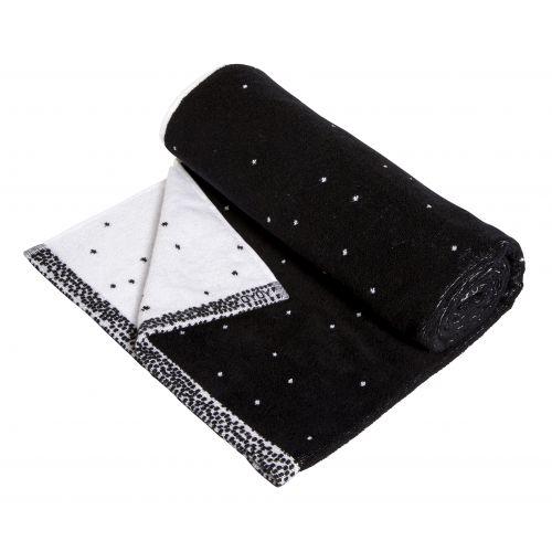 OYOY / Froté osuška Dotty Black/white 70x140 cm