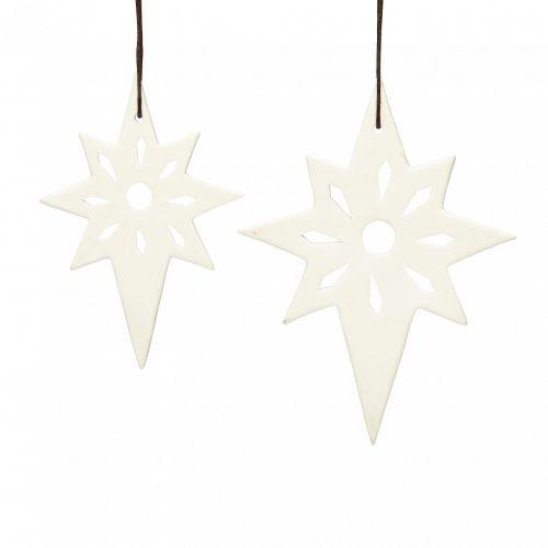 Hübsch / Vianočná dekorácia Ceramic Star - set 2 ks