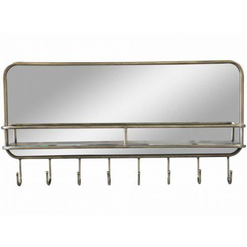Chic Antique / Zrkadlo s poličkou a háčikmi Antique Brass