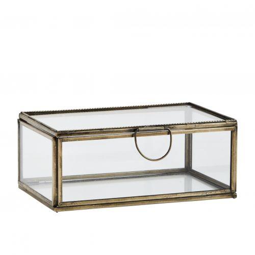MADAM STOLTZ / Sklenená krabička Antique Brass