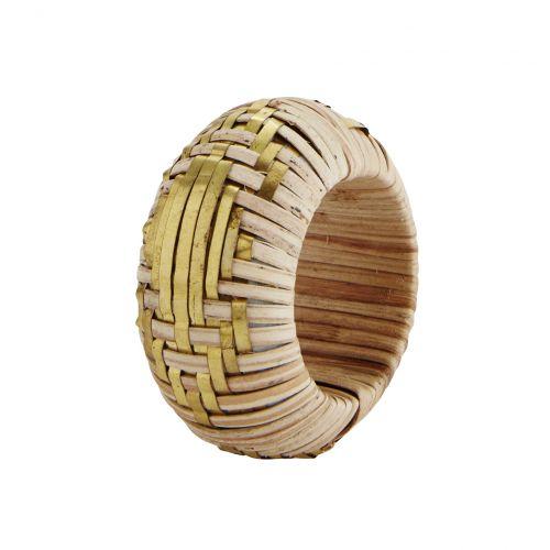 MADAM STOLTZ / Bambusový krúžok na obrúsky Natural/Brass