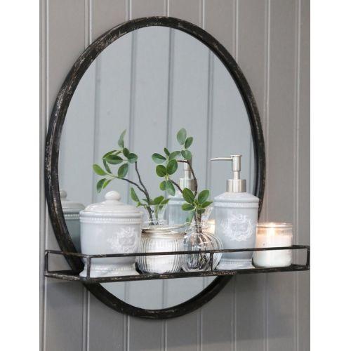 Chic Antique / Zrkadlo v kovovom ráme s poličkou Antique Coal