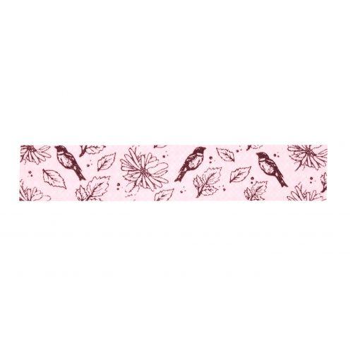 MADAM STOLTZ / Dizajnová samolepiaca páska Flowers&Birds Pink
