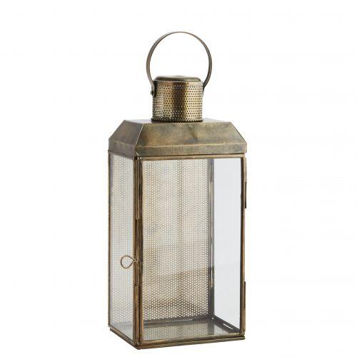 MADAM STOLTZ / Nástenný sklenený lampáš Aged Antique brass