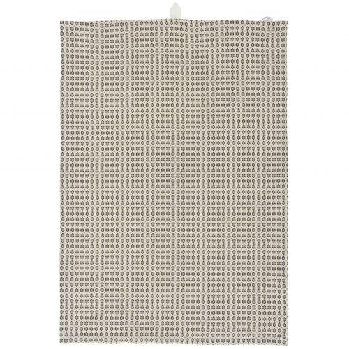 IB LAURSEN / Bavlnená utierka Dark Grey Flower Pattern