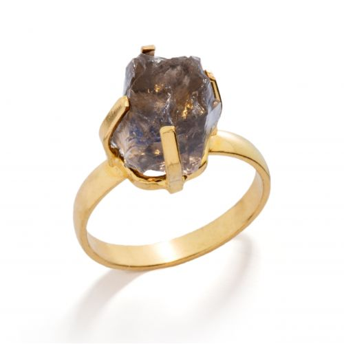 Prsteň Mini Smokey Quartz Gold  504ad04422e