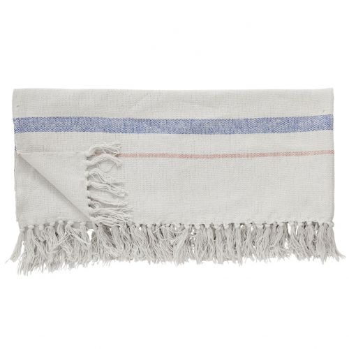 Hübsch / Bavlnený pléd Stripes Beige Blue Pink