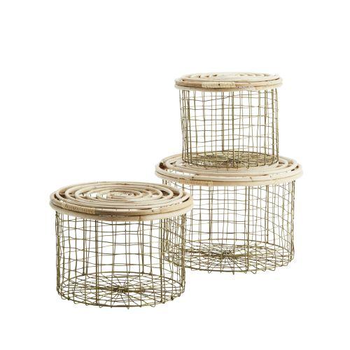 MADAM STOLTZ / Drôtený kôš Antique Brass/Bamboo