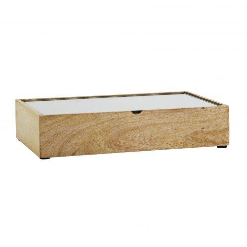 MADAM STOLTZ / Drevený box so skleneným vekom Natural/Clear