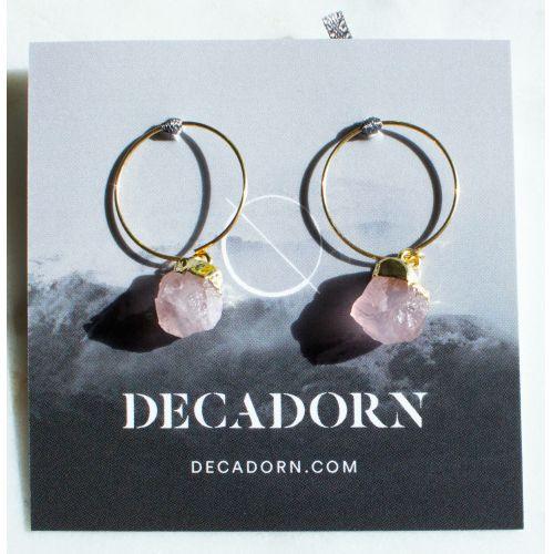 DECADORN / Krúžkové náušnice Mini Rose Quartz/Gold