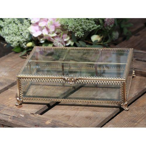 Chic Antique / Sklenená šperkovnica Treasure Antique Brass