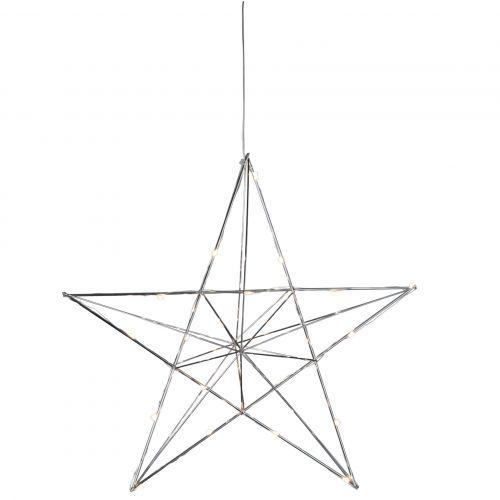 STAR TRADING / Kovová svietiaca hviezda Line Chrome