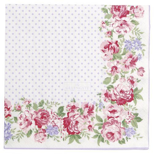GREEN GATE / Papierové obrúsky Rose White
