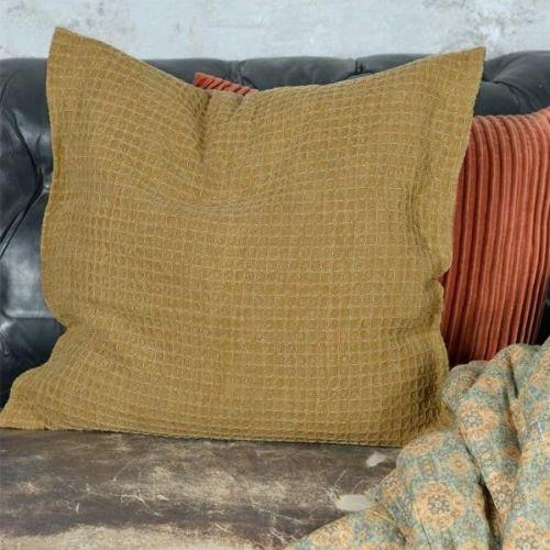 Jeanne d'Arc Living / Bavlnená obliečka na vankúš Mustard Vaffle 50x50cm