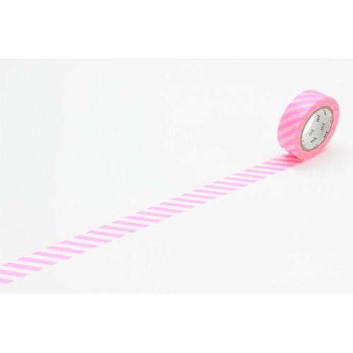 mt / Designová samolepicí páska Stripe shocking pink