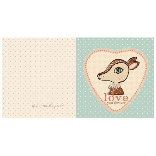 Maileg / Dárkové přání s obálkou Bambi blue