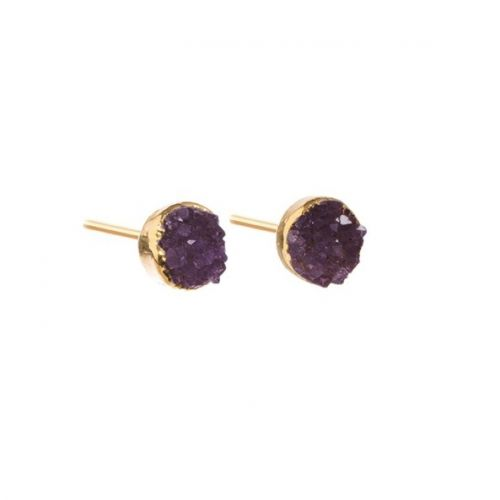 DECADORN / Náušnice Mini Circle Amethyst/Gold