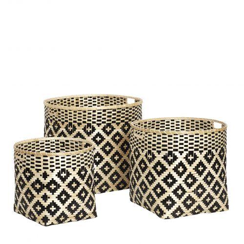 Hübsch / Okrúhly bambusový kôš Pattern