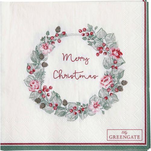 GREEN GATE / Papierové obrúsky Merry Christmas White - menšie