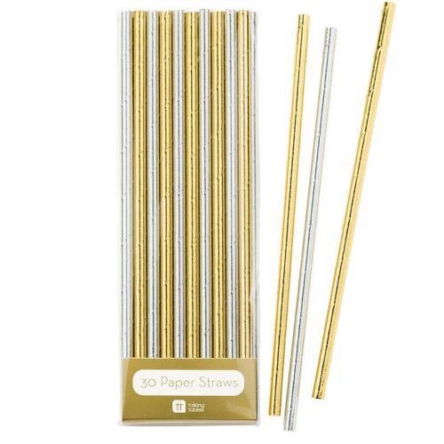 Talking Tables / Papierové slamky Silver Gold - set 30ks
