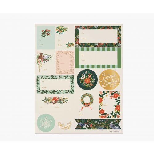 Rifle Paper Co. / Vianočné nálepky Winter Floral - 3 listy