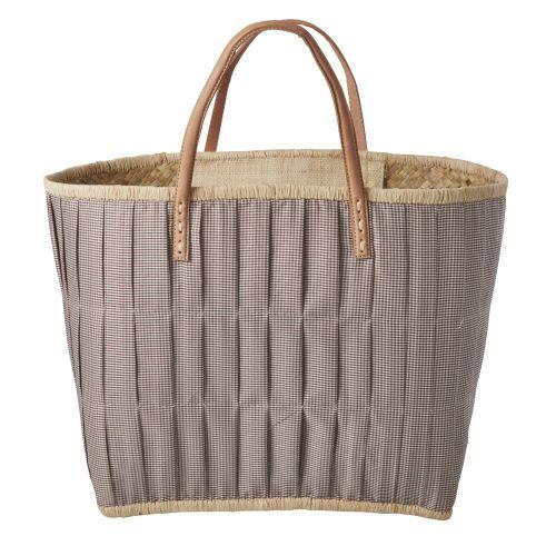 rice / Slamená taška Checked Brown