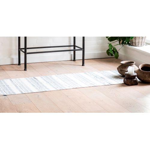 IB LAURSEN / Bavlnený koberec Blue/white 60x180