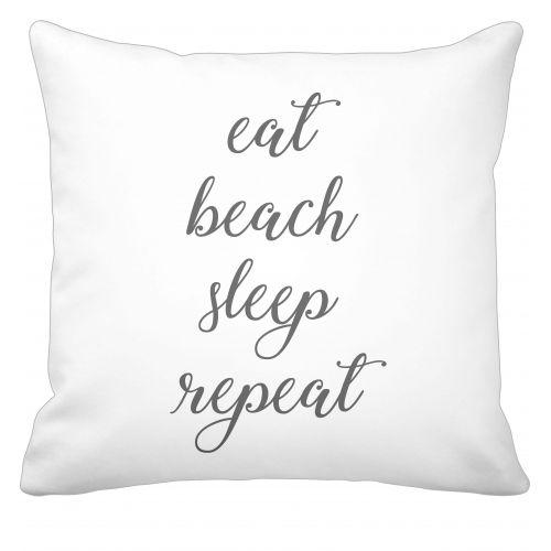 Krasilnikoff / Bavlnená obliečka na vankúš Eat, Beach, Sleep, Repeat