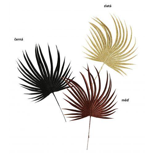 MADAM STOLTZ / Dekoratívny list s flitrami Copper Black Gold Round