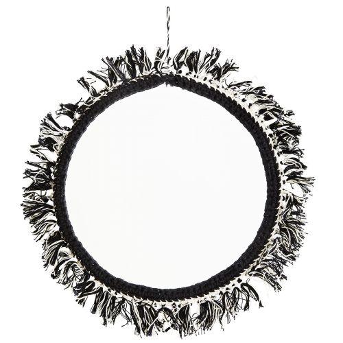 MADAM STOLTZ / Okrúhle zrkadlo so strapcami Off White/Black