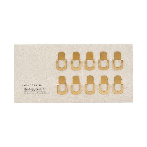 MONOGRAPH / Kovová sponka na papier Brass - set 10 ks