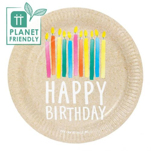 Talking Tables / Papírové talíře Happy Birthday Recyclable – 12 ks