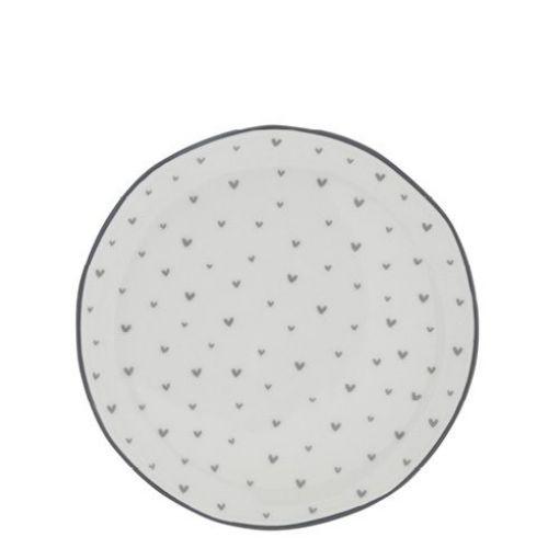 Bastion Collections / Porcelánový dezertný tanier Little Grey Hearts 19 cm