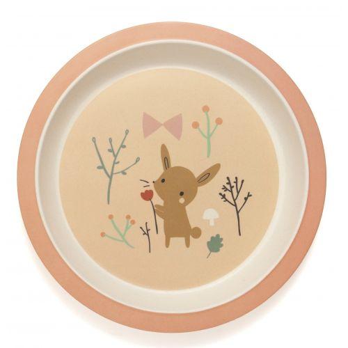 PETIT MONKEY / Detský bambusový tanier Bamboo Bunny