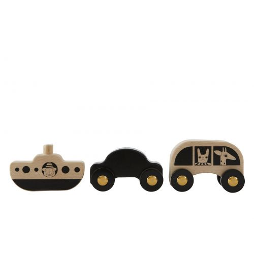 OYOY / Sada drevených autíčok a lodičky No Rush