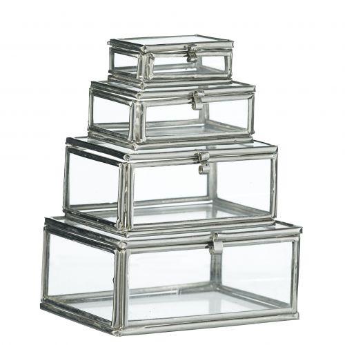 MADAM STOLTZ / Mini sklenené krabičky Silver - set 4 ks